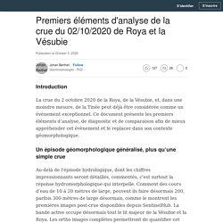 Premiers éléments d'analyse de la crue du 02/10/2020 de Roya et la Vésubie