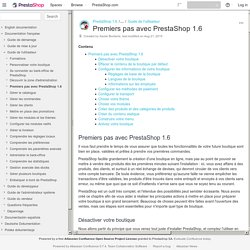 Premiers pas avec PrestaShop 1.6