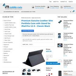 Premium Genuine Leather Slim Portfolio Case with Stand for iPad Pro 12.9 - Classic Black