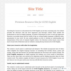 Premium Resource Site for GCSE English – Site Title