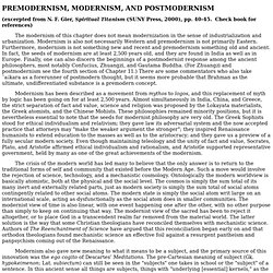 premodernism, modernism and postmodernism