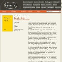 Prendre dates - Editions Verdier