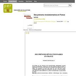 Des prénoms révolutionnaires en France - Persée