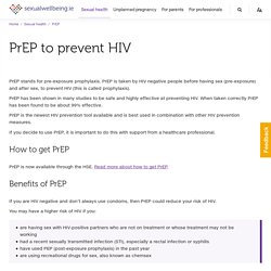 PrEP to prevent HIV - sexualwellbeing.ie
