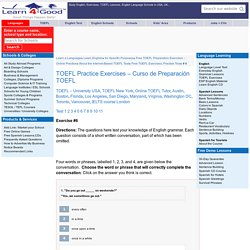 Curso de Preparación TOEFL Examen de Prueba,práctica con la gramática,Examen por Computadora