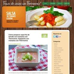 Cómo preparar sopa fría de tomate con manzana con Thermomix. Gazpacho con manzana con Thermomix