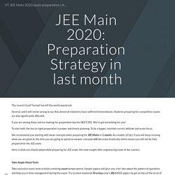 IIT JEE Main 2020 exam preparation