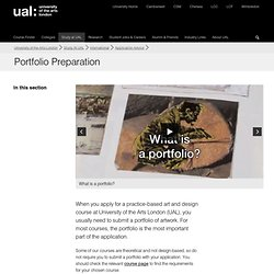 Portfolio Preparation - Application Advice - University of the Arts London