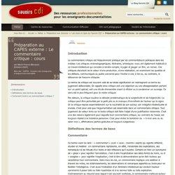 Préparation au CAPES externe : Le commentaire critique : cours