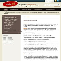 Préparation aux CAPES interne et externe : Analyse documentaire. Corrigé des exercices