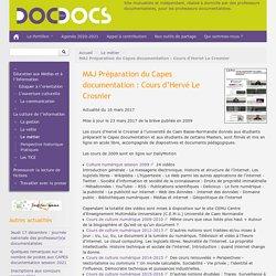 MAJ Préparation du Capes documentation : Cours d'Hervé Le Crosnier