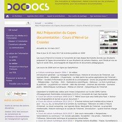 Préparation du Capes documentation : Cours d'Hervé Le Crosnier