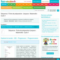 Séquence - Fiche de préparation L'espace : Maternelle - Cycle 1 - Pass Education