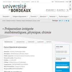 Préparation intégrée mathématiques, physique, chimie