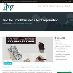 Tips for Small Business Tax Preparation