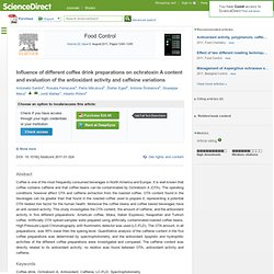 Food Control 22 (2011) Influence of different coffee drink preparations on ochratoxin A content and evaluation of the antioxidan
