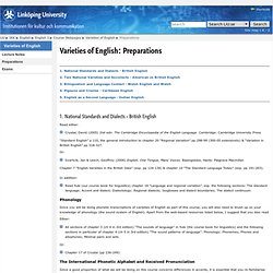 Preparations: Varieties of English: IKK