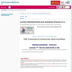 CLASSE PRÉPARATOIRE AUX GRANDES ÉCOLES E.C.S. - C.P.G.E. E.C.S. CLASSE PREPARATOIRE - CITE SCOLAIRE BELLEVUE Albi JPO le 01/02 de 9h à 12h
