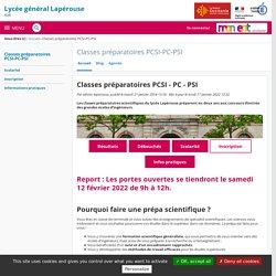 Classes préparatoires PCSI-PC-PSI - Lycée Général Lapérouse Albi JPO 2021 annulées