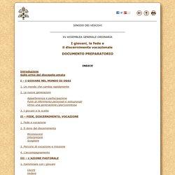 """Documento Preparatorio della XV Assemblea Generale Ordinaria del Sinodo dei Vescovi sul tema """"I giovani, la fede e il discernimento vocazionale"""" (13 gennaio 2017)"""