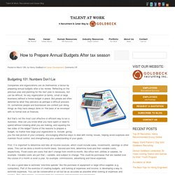 How to Prepare Annual Budgets After tax season