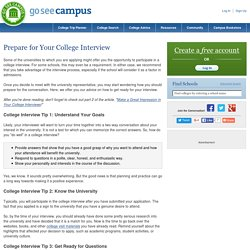 Prepare For Your College Interview