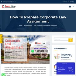 Best Way To Prepare Corporate Law Assignment