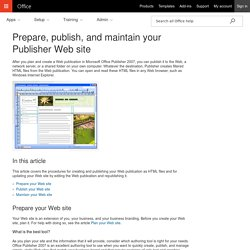 Prepare, publish, and maintain your Publisher Web site - Publisher
