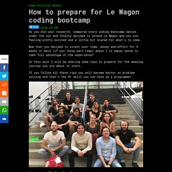 How to prepare for Le Wagon coding bootcamp