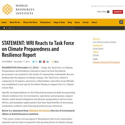 STATEMENT: WRI Reacts to Task Force on Climate Preparedness and Resilience Report