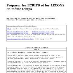 Préparer les ECRITS et les LECONS en même temps