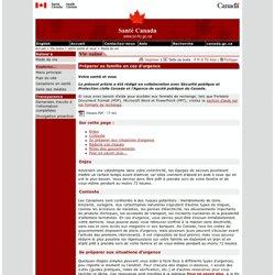 Votre santé et vous - Préparer sa famille en cas d'urgence [Santé Canada, 2006]