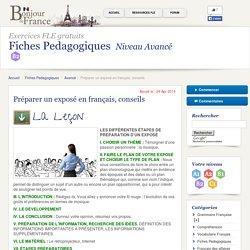 Préparer un exposé en français, conseils - Avancé - Fiches Pedagogiques