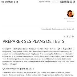 Préparer ses plans de tests