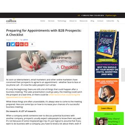 Preparing for Appointments with B2B Prospects: A Checklist