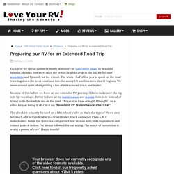 Preparing our RV for an Extended Road Trip