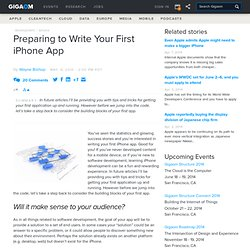 Preparing to Write Your First iPhone App