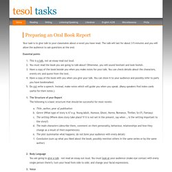 Preparing an Oral Book Report