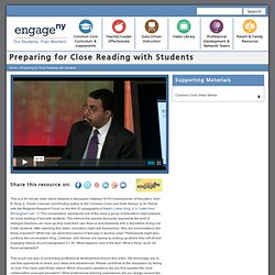 Preparing for Close Reading with Students