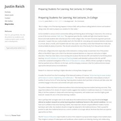 Justin Reich » Preparing Students For Learning, Not Lectures, In College