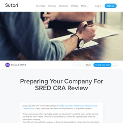 Preparing Your Company For SRED CRA Review