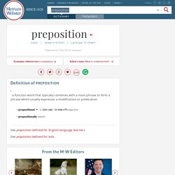 Definition of Preposition by Merriam-Webster