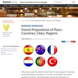 French Prepositions for countries, cities, regions