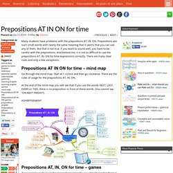 Prepositions AT IN ON for time