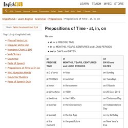 Prepositions of Time - at, in, on