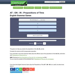 Prepositions of Time AT ON IN English Grammar Game - Juego de las Preposiciones de Tiempo en inglés