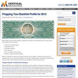 Prepping Your Back Link Profile for 2013 by Vertical Measures
