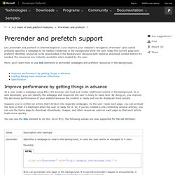 Prerender and prefetch support (Windows)
