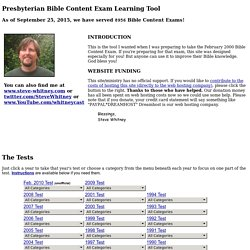 Presbyterian Bible Content Exam - Learning Tool