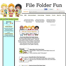 Preschool Color Match File Folder Game